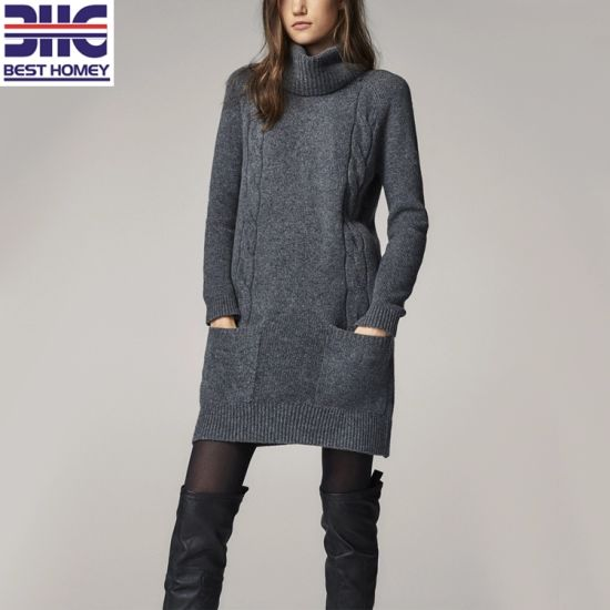 China Long Sleeves Turtleneck Cable Knit Design Wool Fashion