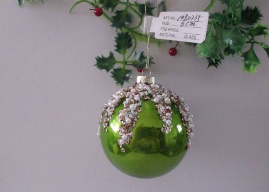 Green Color Glass Ball for Xmas Tree Decoration