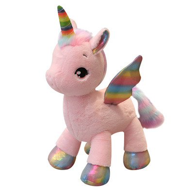 40-60cm Soft Stuffed Plush Baby Toy Cartoon Unicorn with Fancy Wings for Birthday Gift and House Decoration