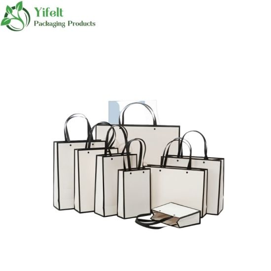 Wholesale White Custom Printed Logo Packaging Luxury Gift Tote Carrier Paper Bag with Logo Print for Shopping Paper Bag