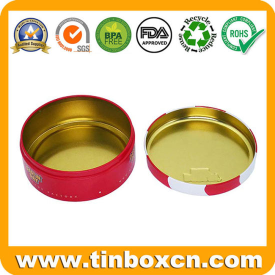 2018 Hot Sale Custom Round Metal Box Candy Tin Can with Seamless Bottom for Sweets Confectionery pictures & photos