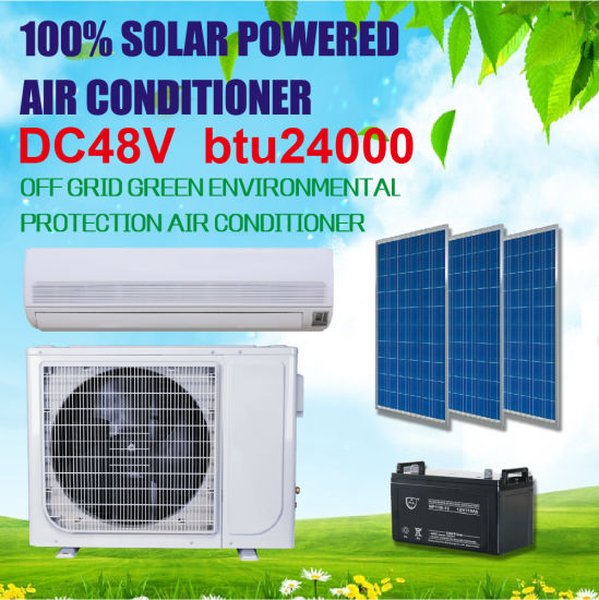 Green Energy! Cooling/Heating DC48V off Grid Solar Air Conditioner 24000BTU