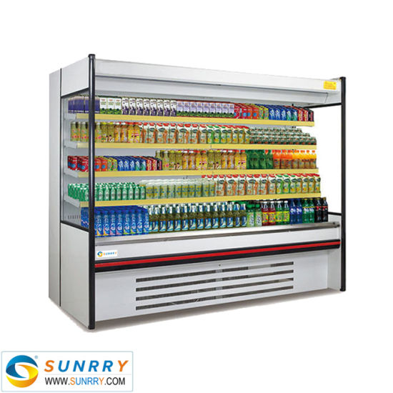 Supermarket Refrigerator Display Shelves Medicine Cabinet with Double Curtain Door