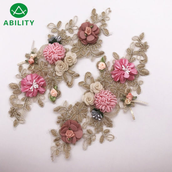 Customized Beautiful Embroidery Flower Pair Applique Lace