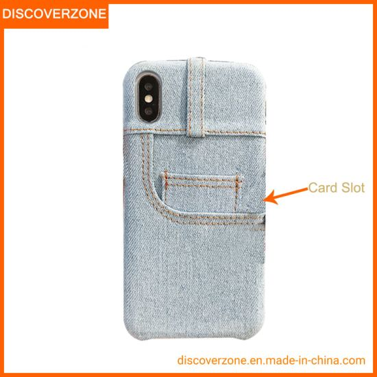 Fashion Accessory Jean Cloth Mobile Phone Case Card Slot iPhone Cover Xs Max 6g 7g 8g