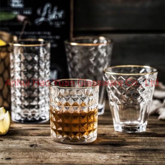 Wholesale Price Different Style Elegant Gold Rim Drinking Glass