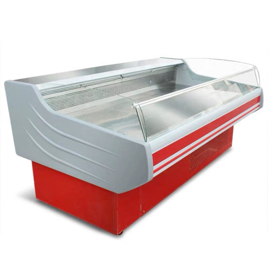 Professional Meat Chiller Curved Glass Display Meat Chiller and Freezer