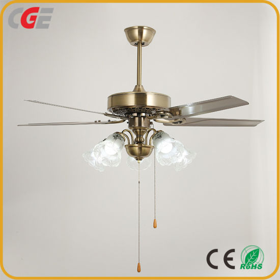 Ceiling Fan High Quality Five Iron Blades 52 Inch Pure Copper Motor Glass Shade Decorative Ceiling Light Fans AC Fan Cooling Fan pictures & photos
