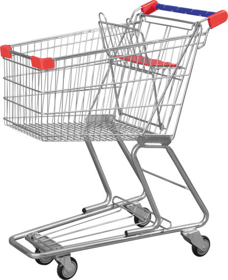 Popular Wholesale Cheap Price Supermarket Push Cart Retail Grocery Metal Shopping Trolley Cart for Sale
