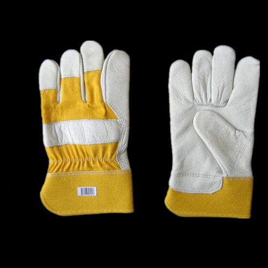 Cow Grain Palm Yellow Cotton Back Leather Work Glove (3121.01)