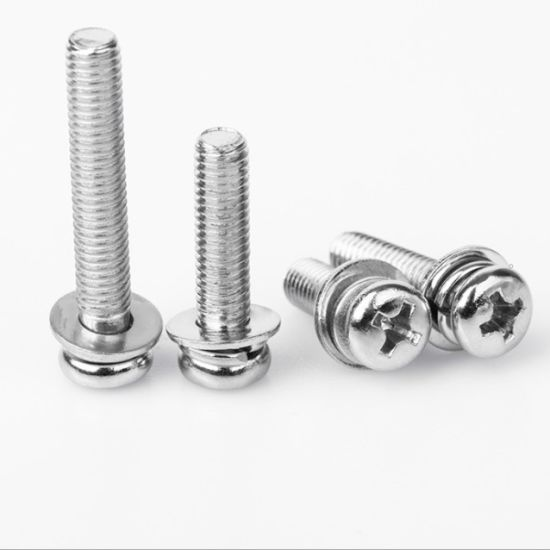 Low Carbon Steel Philips Round Head Screws Assemblies with Spring Washer and Plain Washers From China Manufacturer