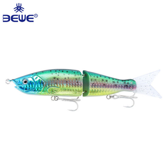 Big Size Hard Sea Fishing 2 Joint Bait Monnow with Soft Rubber Tail