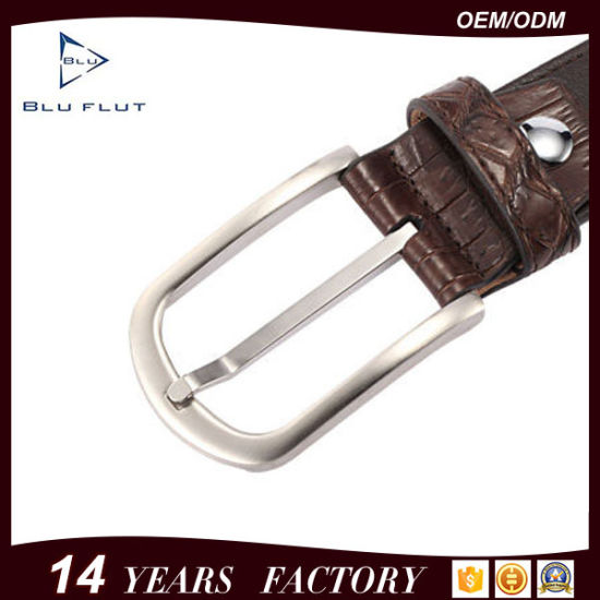 High Quality Steel Buckle Manufacturer Supply Genuine Crocodile Cowhide Leather Belt