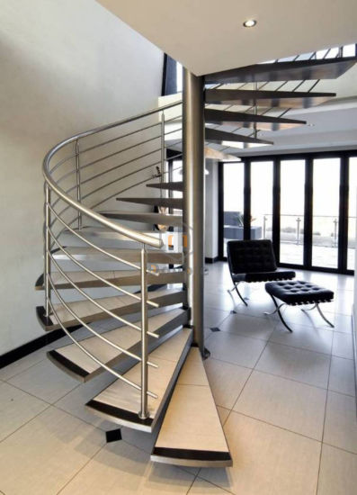 Superieur Modern Indoor Design Spiral Staircase With Stainless Steel Stair Railing