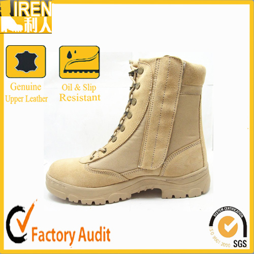 Khaki Cow Leather with Side Zipper Military Police Army Boot