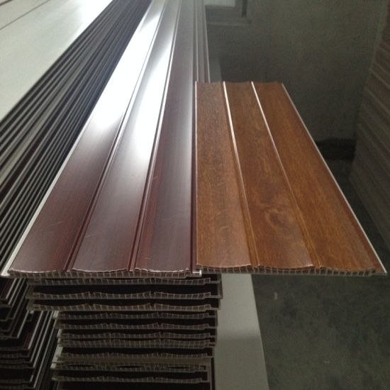 Wooden Colors Two Grooves Lamination PVC Wall Panel pictures & photos