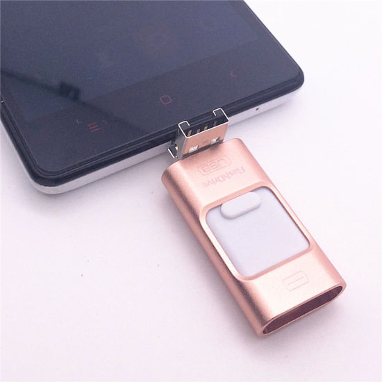 for iPhone 6 6s Plus 5 5s iPad Pen Drive HD Memory Stick Dual Purpose Mobile OTG Micro USB Flash Drive 16GB 32GB 64GB pictures & photos