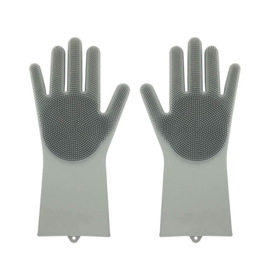 Silicone Cleaning Brush Scrubber Gloves for Dish Wash pictures & photos