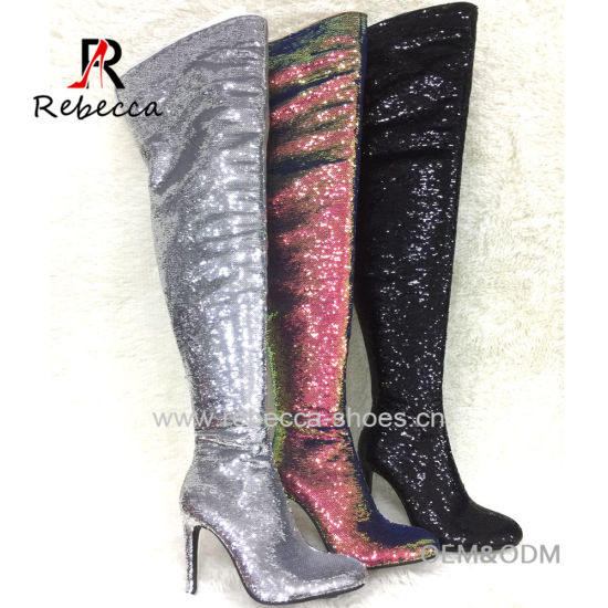 Fashion High Quality Paillette Long High Heel Boot Sequins Thigh High Rubber Knee High Boots