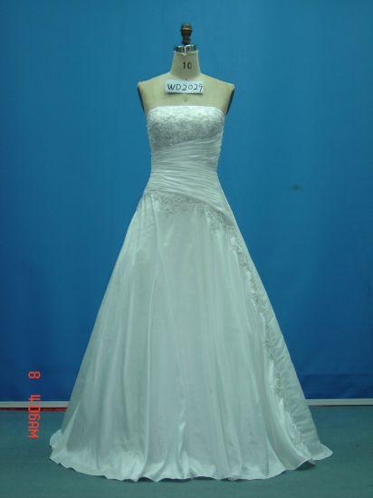 China Strapless Beaded Taffeta Real Made Sample Wedding Dresses ...