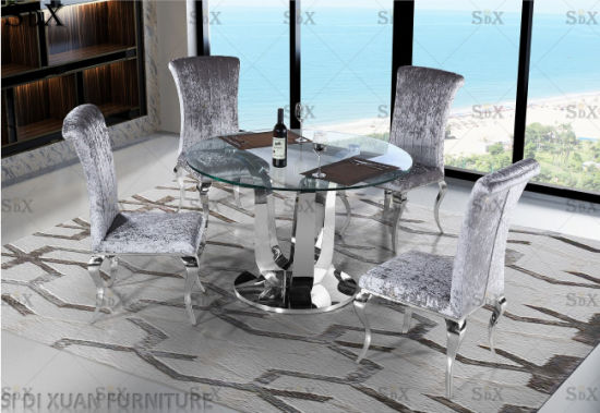 China Modern Home Dining Room Stainless Steel Furniture Glass Round Dining Table Set China Table Dining Set