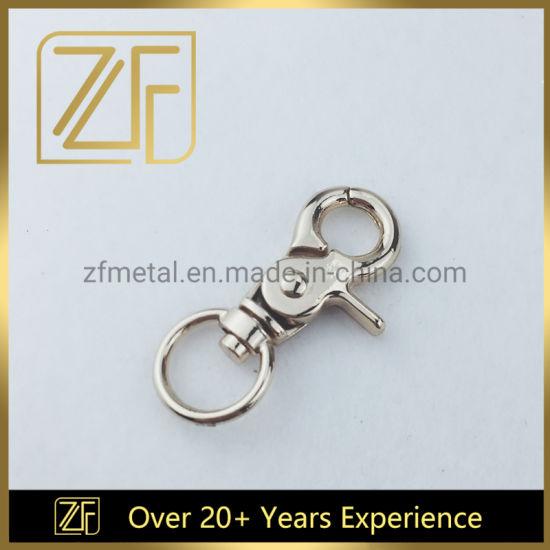 Custom Hardware Light Gold Metal Snap Hook with Round Hole for Handbag