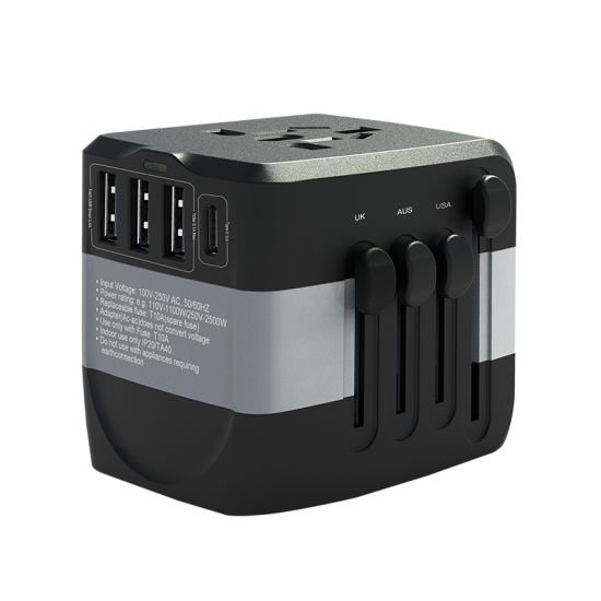 World 110-250V Travel Adapter Smart USB Charger Type-C Power Adapter