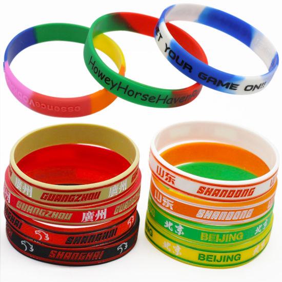 Cheap Custom Gay Pride Rainbow Slim Awareness Silicone Wristbands Bracelets
