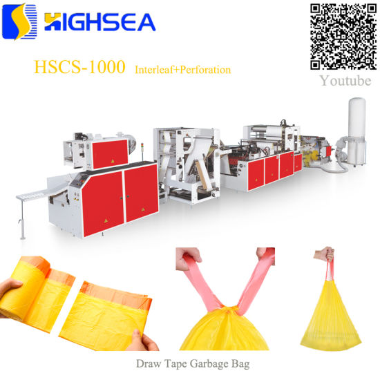 Plastic Overlap Drawstring Trash Bag Making Machine Perforation Continuous Rolling Draw Tape Garbage Bag Interleave and on Roll Making Machine