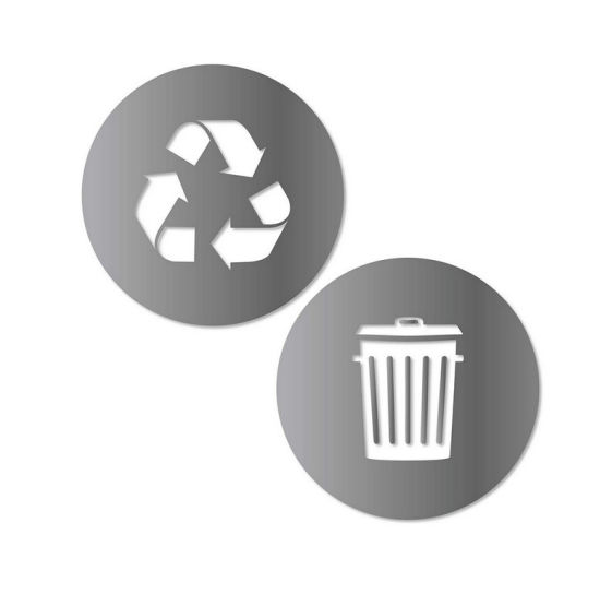 2 (5.5in X5.5in) Symbol to Organize Trash Cans Recycle and Trash Sticker