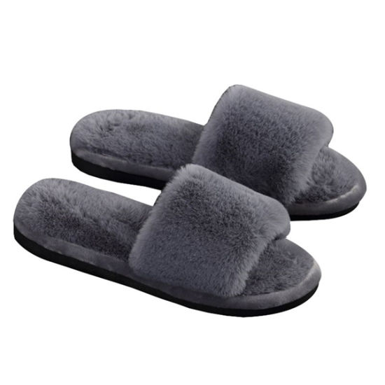 Wholesale Women Winter Soft Real Indoor Sheepskin Fur Slippers pictures & photos