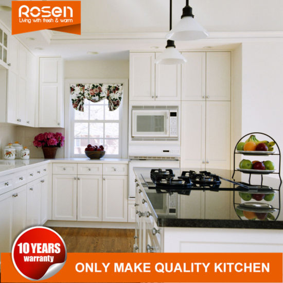 Design Best Quality White Solid Wood Kitchen Cabinets Furniture