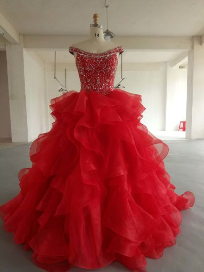 Beaded Organza Girl Ball Gown Prom Evening Party Quinceanera Dresses Wedding Dress Qjm5537