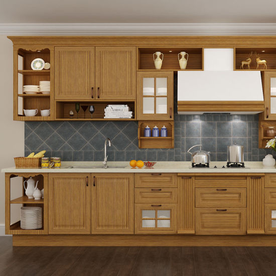 Solid Wood Kitchen Cabinets Wholesale China Red Oak Solid Wood Wholesale Modular Kitchen Cabinetry (OP15