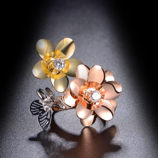 New Model Adjustable Size Rose Gold Flower Design Ring pictures & photos