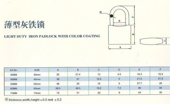 Light Iron Padlock with Color Coating pictures & photos