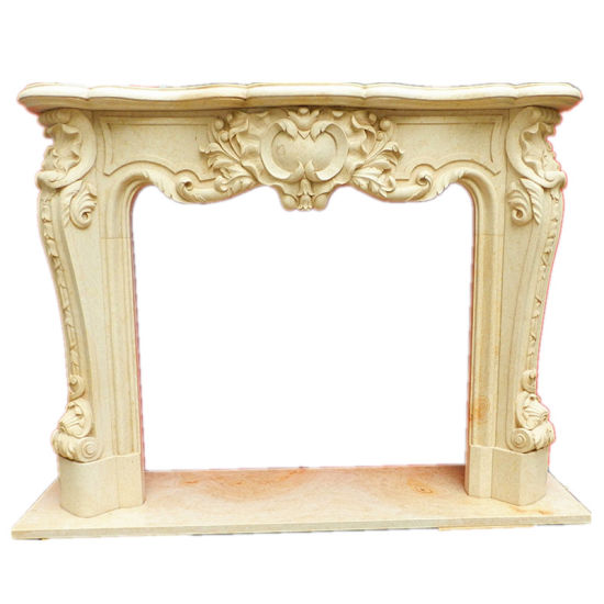 Modern Western Style Hand Carving Polished Marble Stone Fireplace Mantel pictures & photos