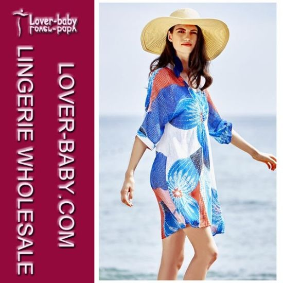 Woman Beach Blouse Shirt Swimwear Cover Dress (L38363) pictures & photos