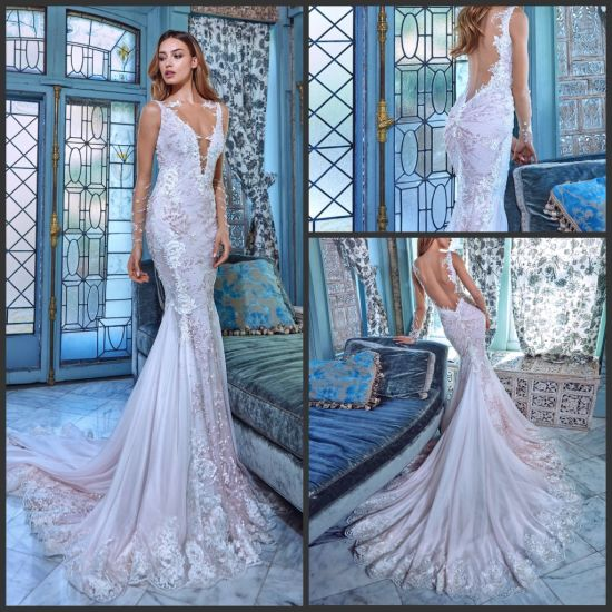 China Sheer Lace Wedding Dress Sleeves V-Neck Backless Daria Custom ...