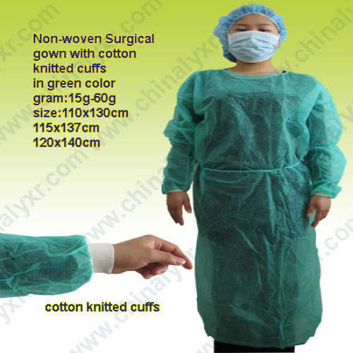 Disposable Nonwoven Isolation Protective Clothing Gowns Elastic and Knitted Cuffs