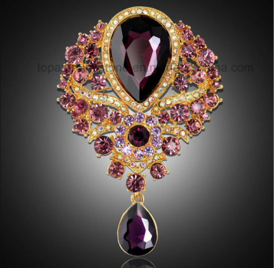 Luxury Women Rhinestone Brooch Pendant Europe Glass Brooch (TB-026 pear pendante) pictures & photos