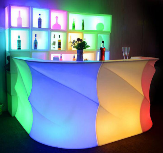Plastic LED Bar Counter Battery Teak Patio Furniture for Outdoor Party Lights pictures & photos