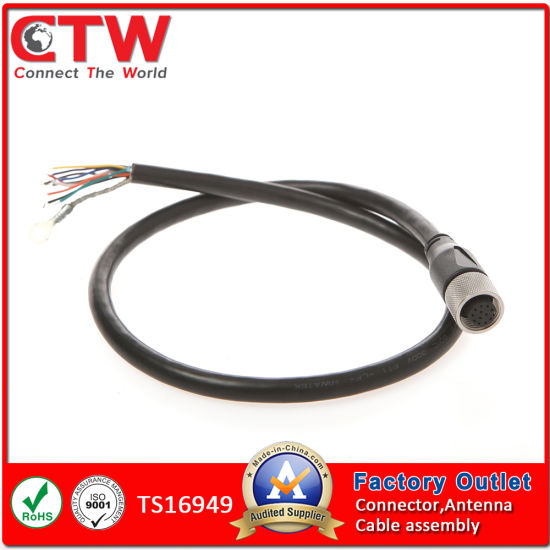china m12 to pigtail cable assembly china wire harness m12 12 pin male connector to molex 1