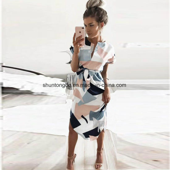 Summer Style Dress Casual Asymmetrical Geometric Printing Short Sash Knee-Length Dress O-Neck Elegant Women Dresses pictures & photos