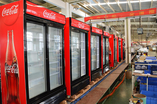 Coke Brand Two Door Display Bottle Cooler with Dynamic Cooling System