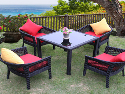 Simple Style Rattan Stacking Chair Glass Table Garden Outdoor Furniture