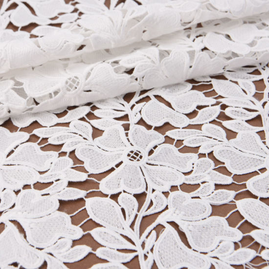 Post-Consumer Water Soluble Embroidered Chemical Floral Lace Fabric