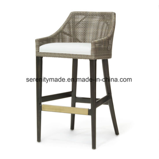 Surprising Aluminum Frame Synthetic Rattan Woven Counter Height Outdoor Bar Stools Machost Co Dining Chair Design Ideas Machostcouk