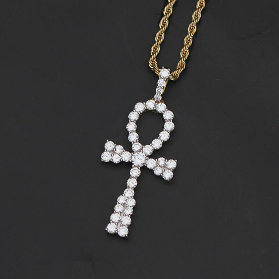 China custom gold 925 sterling silver diamond ankh necklace pendant custom gold 925 sterling silver diamond ankh necklace pendant mjhp152 mozeypictures Image collections