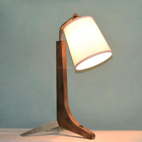 Triple Legs Brushed Steel Metal and Wood Fabric Shade Nightstand Lamp Table Lamp